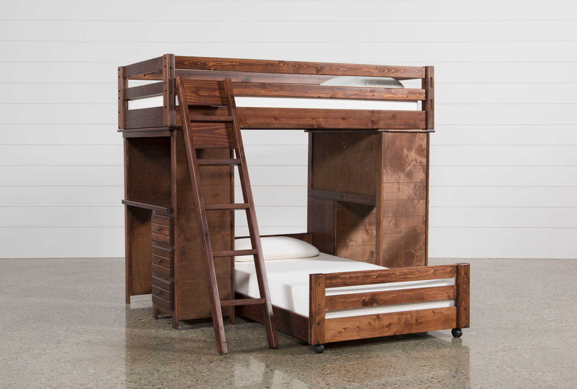 Cool bunk beds with desk Space Saving Sedona Twin Over Twin Loft Bunk With Desks Living Spaces Bunk Beds And Loft Beds For Your Kids Room Living Spaces