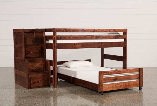 Sedona Junior Loft Bed With Twin Caster Bed & Junior Stair Chest - 360