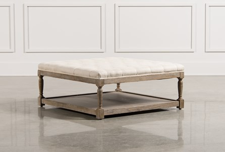 Tufted White Cocktail Ottoman