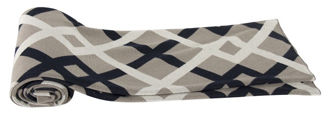 Accent Throw-Navy Cross Weave Knit - 360