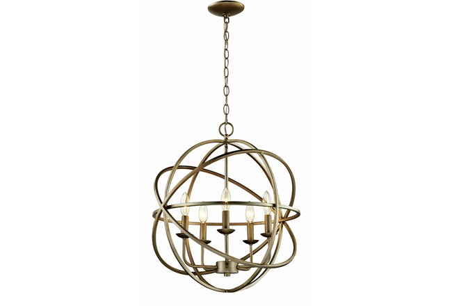 Chandelier-Rosilyn Antique Silver 5-Light - 360 - Chandelier-Rosilyn Antique Silver 5-Light Living Spaces