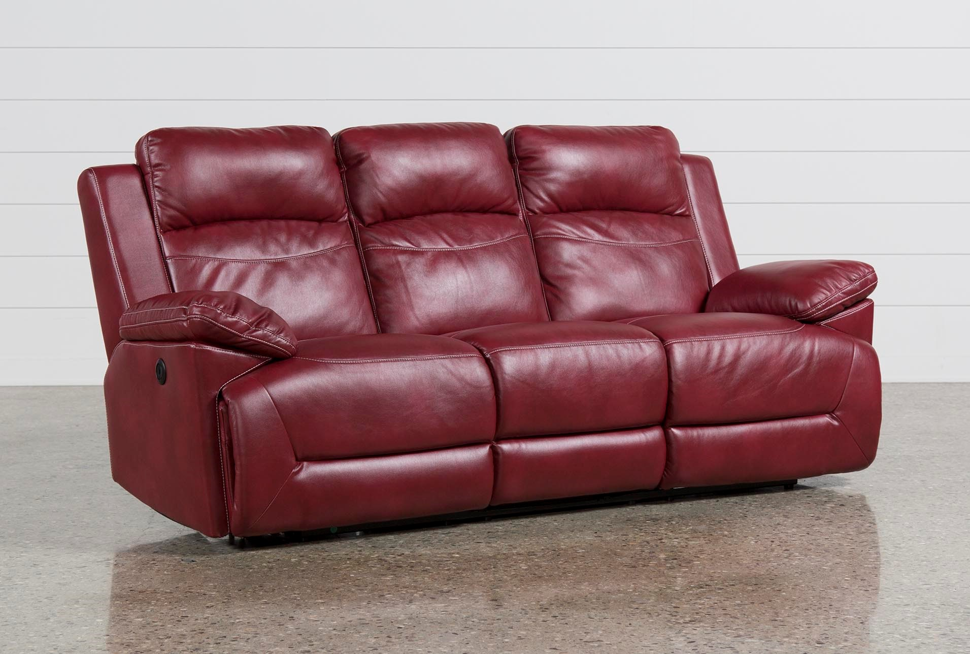 Bryson Power Reclining Sofa Living Spaces ~ Red Leather Power Reclining Sofa