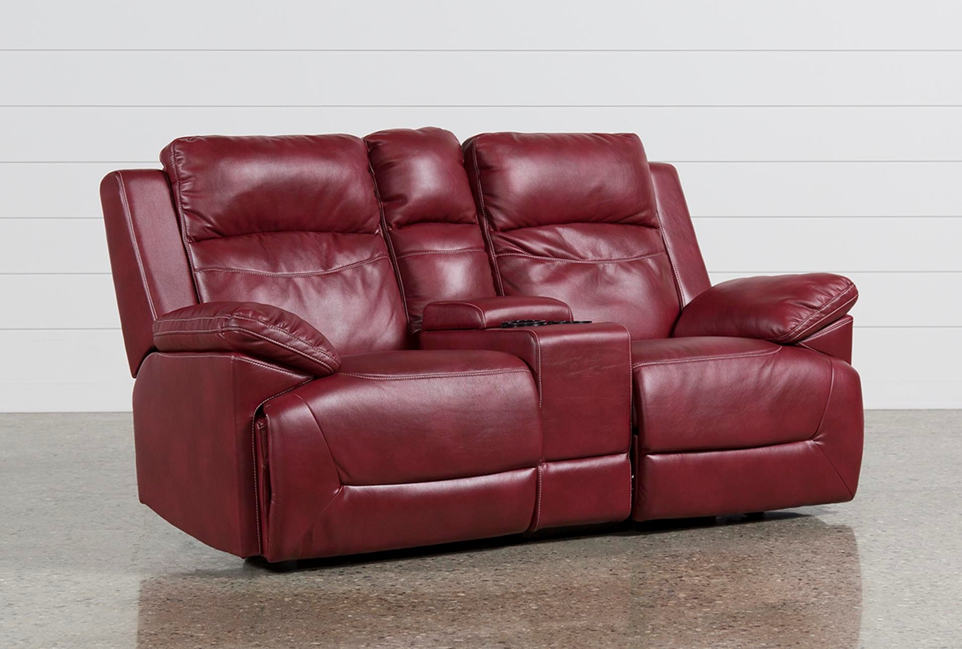 Bryson Power Reclining Glider Loveseat W Console Living Spaces ~ Red Leather Power Reclining Sofa