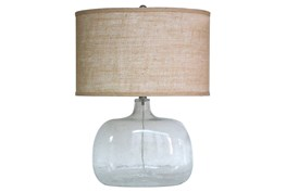 24 Inch Clear Seeded Glass Table Lamp With Oval Shade