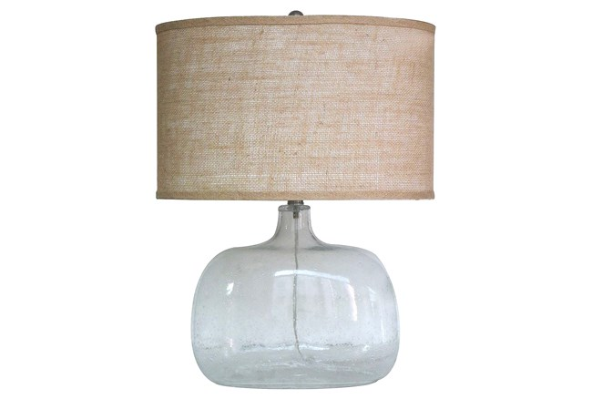 24 Inch Clear Seeded Glass Table Lamp With Oval Shade - 360