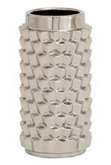 11 Inch Silver Textured Ceramic Vase - Signature