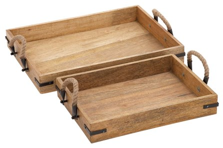 2 Piece Set Wood & Rope Trays - Main