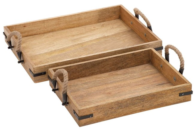 2 Piece Set Wood & Rope Trays - 360