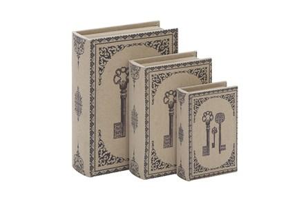 3 Piece Set Fabric Key Book Boxes - Main