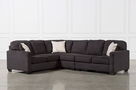Alenya Charcoal 3 Piece Sectional W/Raf Loveseat