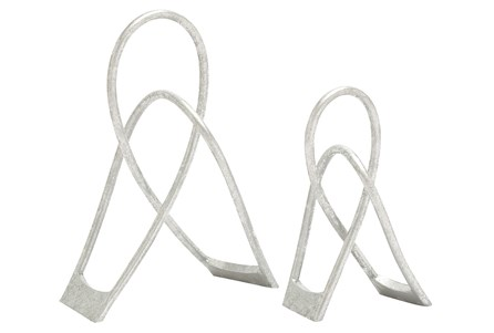 2 Piece Set Silver Metal Structures