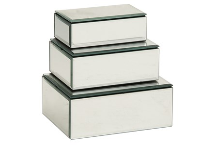 3 Piece Set Mirrored Boxes