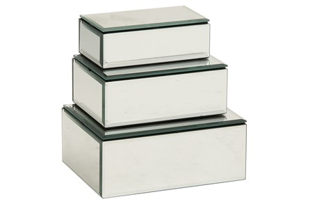 3 Piece Set Mirrored Boxes - Main