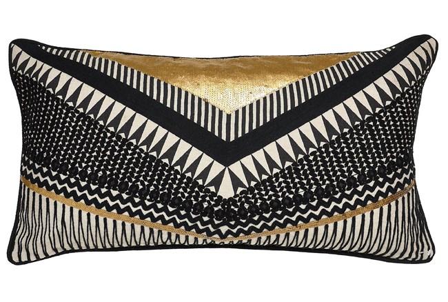 Accent Pillow-Nico Chevron Black/Gold 14X26 - 360