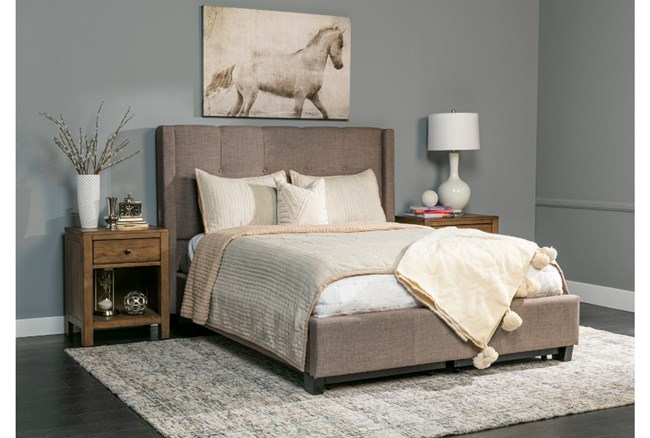 Damon Stone Cal King Headboard Upholstered Platform Bed - 360