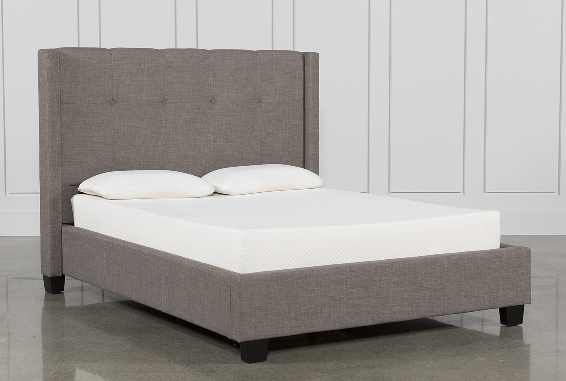 Superieur Damon Stone Eastern King Upholstered Platform Bed