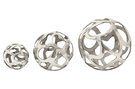 3 Piece Set Aluminum Decorative Balls - Main