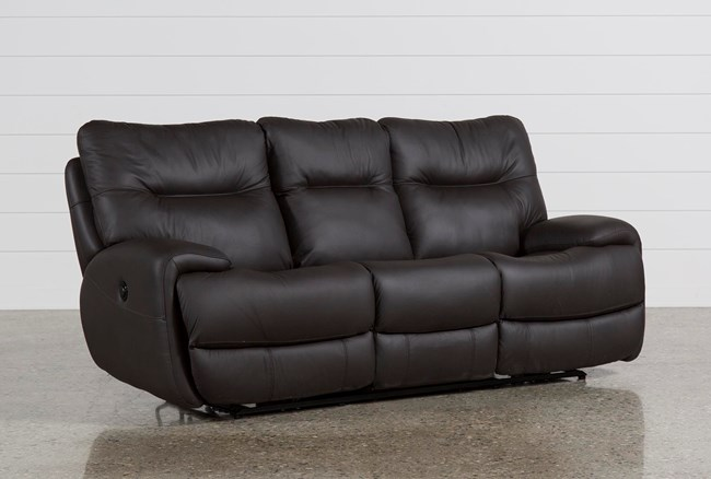 Oliver Graphite Leather Power Reclining Sofa - 360