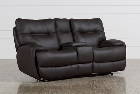 Oliver Graphite Leather Power Reclining Loveseat W/Console