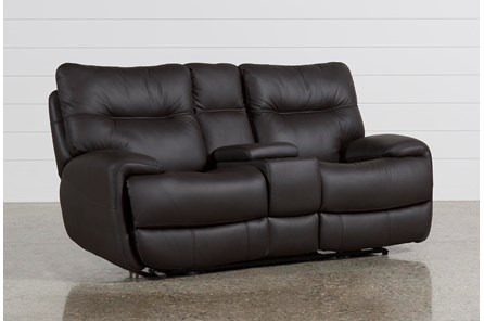 Oliver Graphite Leather Power Reclining Loveseat W/Console - Main