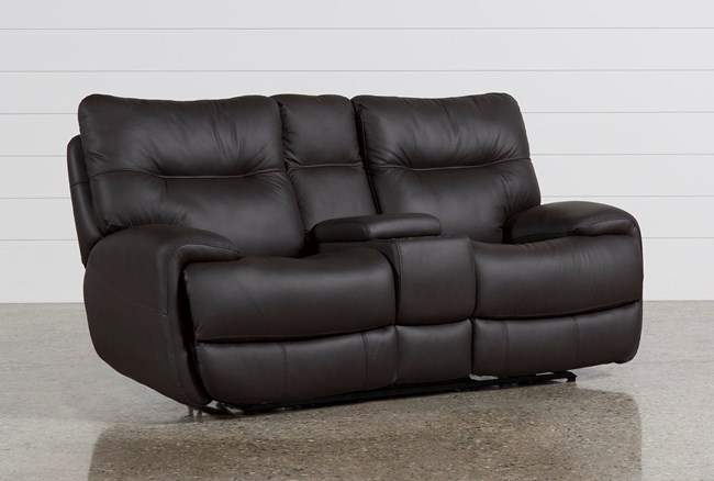 Oliver Graphite Leather Power Reclining Loveseat W/Console - 360