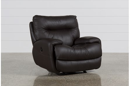 Oliver Graphite Leather Power Glider Recliner - Main