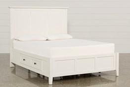 Copenhagen White Queen Storage Bed
