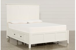 Copenhagen White Queen Storage Bed