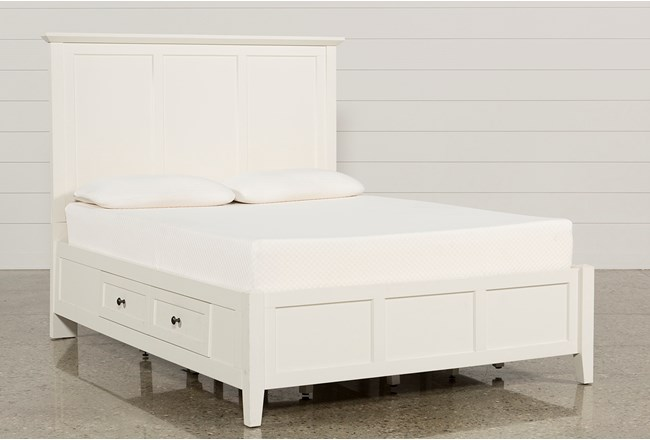 Copenhagen White Queen Storage Bed - 360