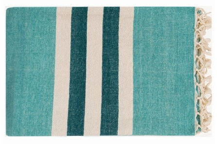 Accent Throw-Dermot Aqua Striped