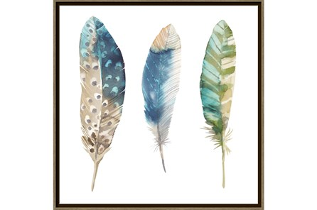 Picture-Trio Of Blue Feathers - Main