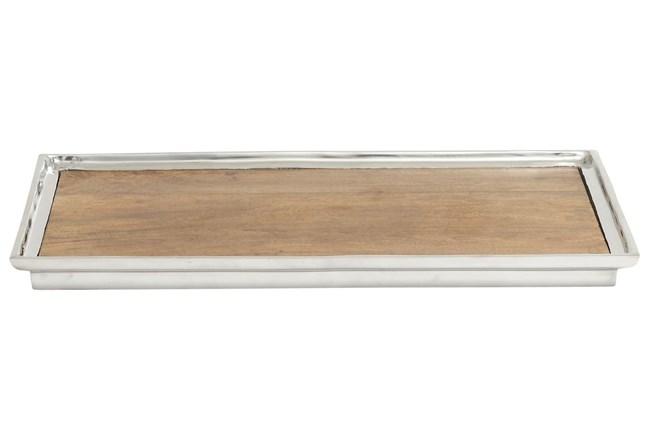 Aluminum & Wood Rectangle Tray - 360