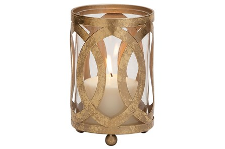 7 Inch Metal & Glass Candle Lantern