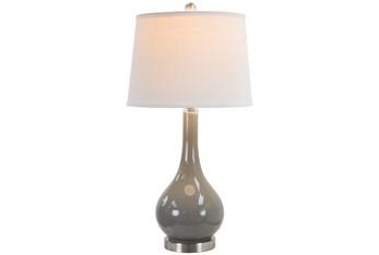 28 Inch Grey Glass + Brushed Nickel Base Table Lamp