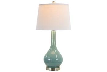 28 Inch Aqua Blue Glass + Brushed Nickel Base Table Lamp