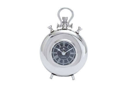 8 Inch Metal Nickel Table Clock - Main