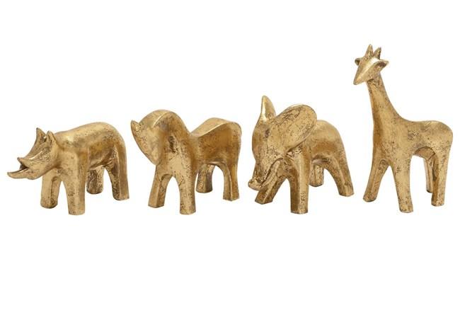 4 Piece Set Gold Polystone Animals - 360