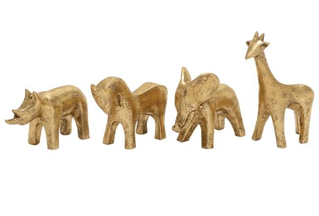 4 Piece Set Gold Polystone Animals