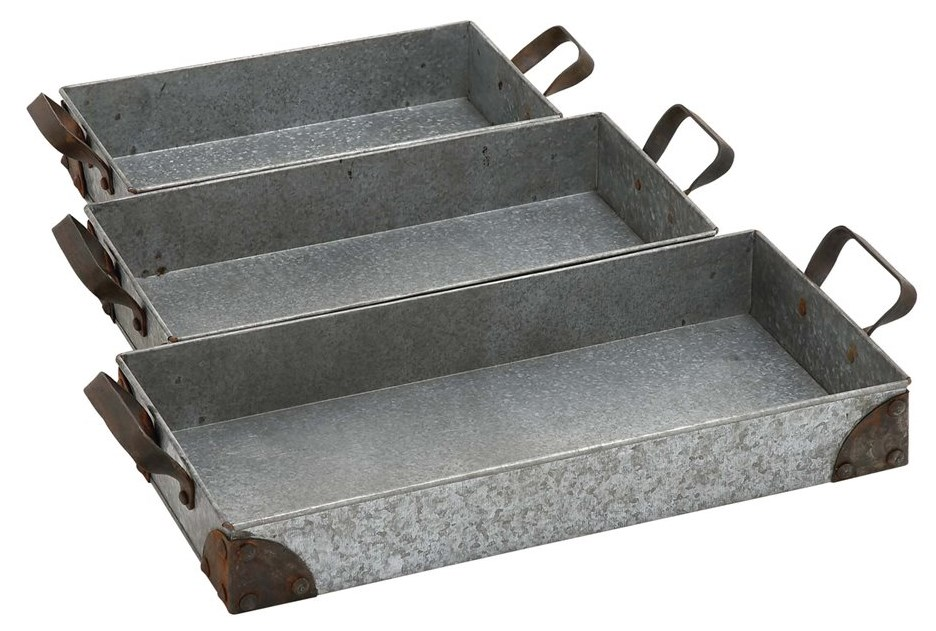 3 Piece Set Rectangular Metal Trays