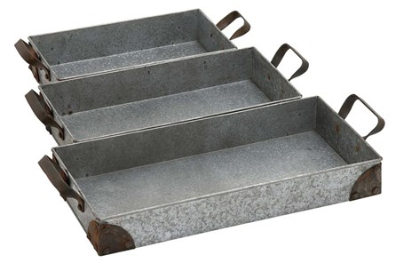 3 Piece Set Rectangular Metal Trays - Main