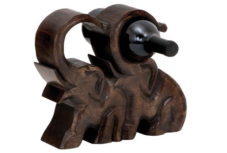 Wooden Elephants Wine Holder