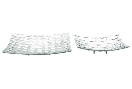 2 Piece Set Lattice Aluminum Trays