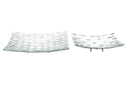 2 Piece Set Lattice Aluminum Trays - Main