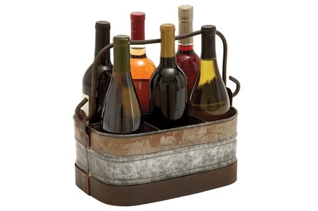 Galvanized Metal Wine Holder - Main