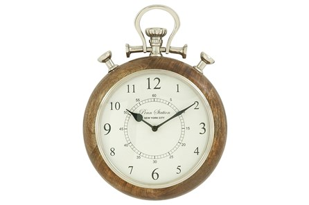 10 Inch Wood & Metal Wall Clock - Main