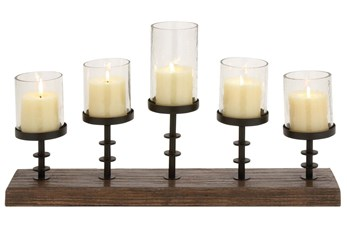 Wood Metal Candleabra