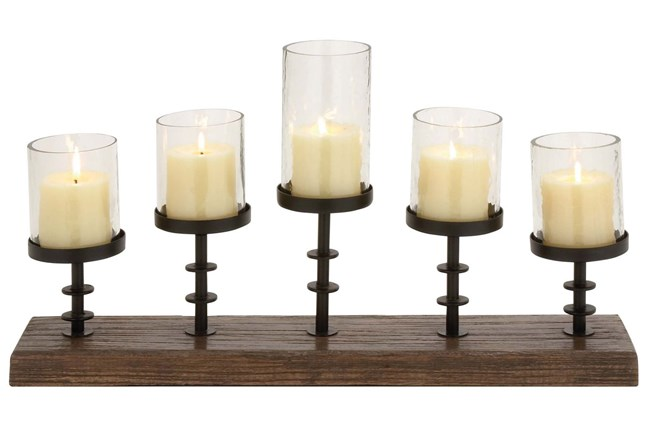 Wood Metal Candleabra - 360