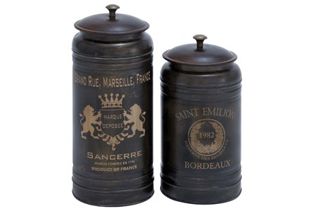 2 Piece Set Metal Canisters