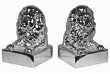 2 Piece Set Silver Lion Head Bookends - Signature