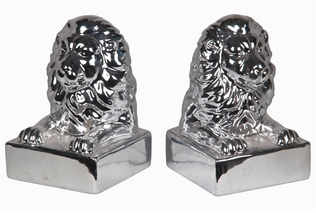2 Piece Set Silver Lion Head Bookends - 360